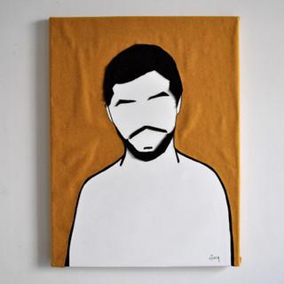 Hey Mister 60 x 80 cm Tessuto Rigenerato su Tela, 2020 Esposizione Illustri Volti