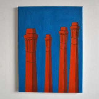 Smokestacks City 60 x 80 cm Olio su Tela, 2020 Esposizione Illustri Volti