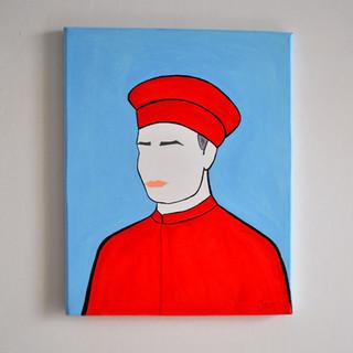Francesco Datini Mercante del 1300 40 x 50 cm Olio su Tela, 2020 Esposizione Illustri Volti