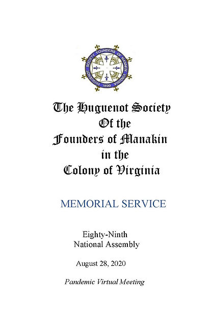 Memorial Program for 2020 Assembly bookl
