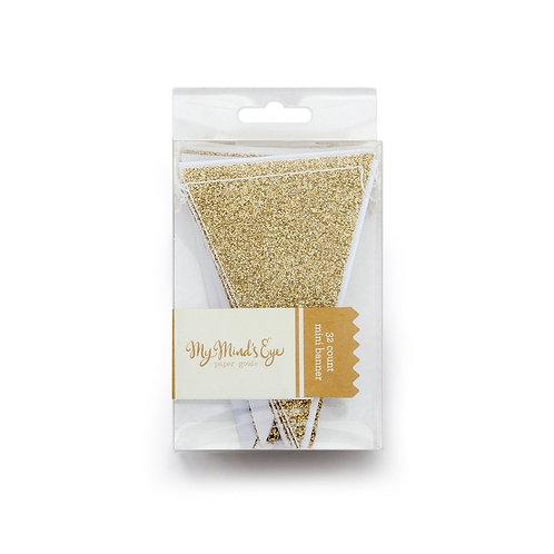 My Mind's Eye グリッターゴールドミニペナントバナー(Gold Glitter Mini Pennant Banner)