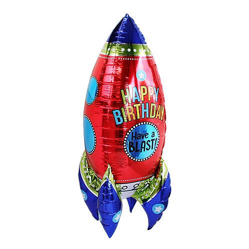 """Happy birthday""ロケットのフォイルバルーン〔DM配送可〕"