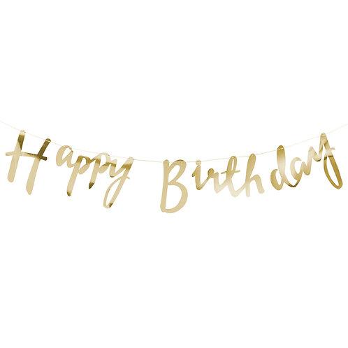 Ginger Ray ゴールド Happy Birthday バンティング(Gold Happy Birthday Bunting)