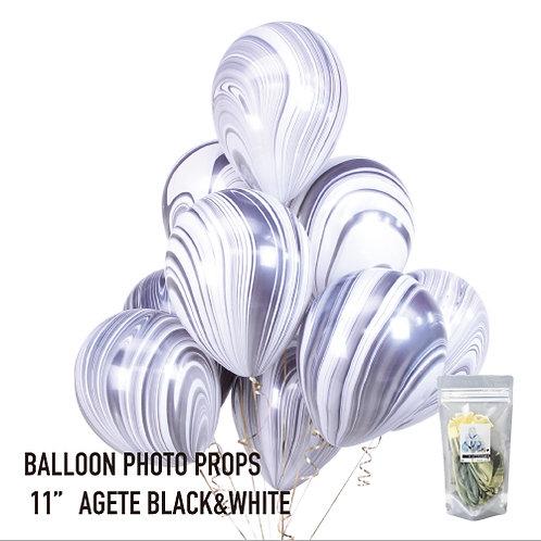 "11"" Black & White Marble Balloonsマーブル風船 ブラック&ホワイト(8枚入)"