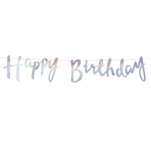 Ginger Ray イリディセント Happy Birthday バンティング(Iridescent Happy Birthday Bunting)