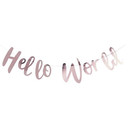 Ginger Ray ローズゴールド Hello World バナー(Rose Gold Hello World Bunting)
