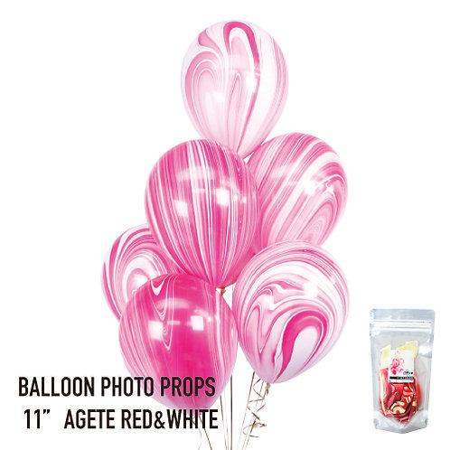 """11"""" Red Marble Balloons マーブル風船 レッド&ホワイト(8枚入)"""