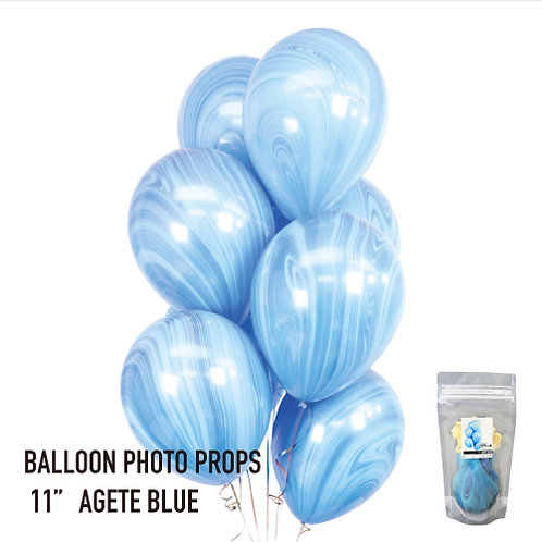 "11"" Blue Marble Balloons マーブル風船 ブルー(8枚入)"