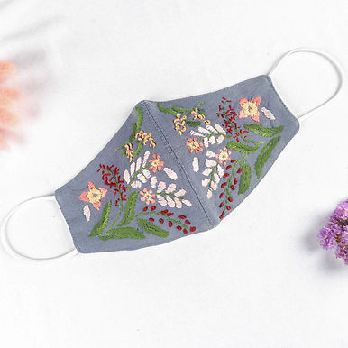 Hand-Embroidery Mask FLOWERY Pattern [VOUCHER]