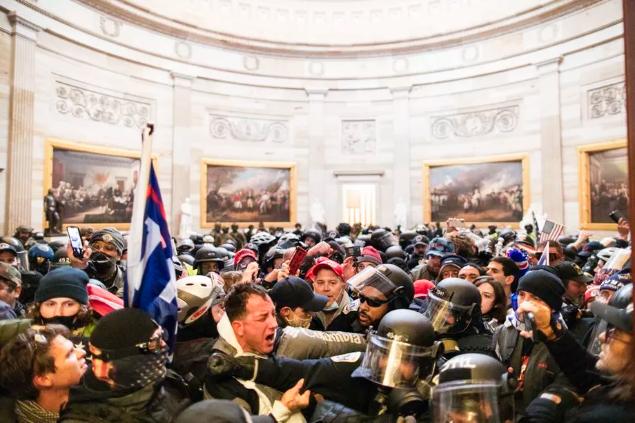 Police attempt to remove pro-Trump supporters from the Capitol building. Mostafa Bassim/Anadolu Agency/Getty Images