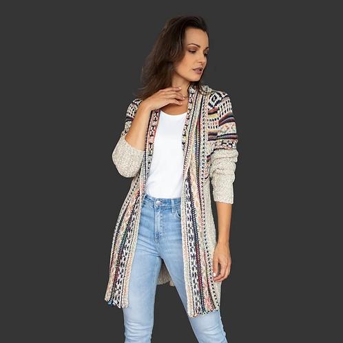 Suéter Largo Beige Con Vivos En Varios Colores