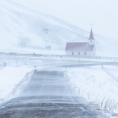 Church in snowstorm, Iceland