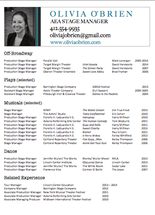 olivia o brien aea stage manager resume