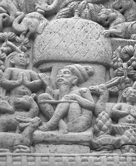 Bas-relief indien présentant la Yogapatta