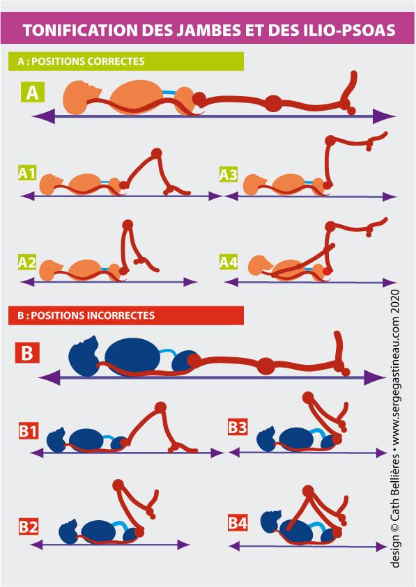 Exercices de tonification des jambes et des muscles illio-psoas