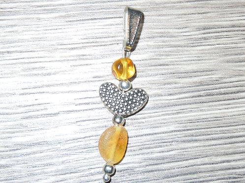 #1549 - Lemon Raw & Polished Heart Pendant