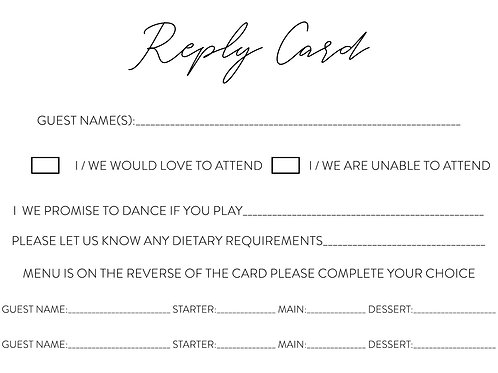 RSVP / Guest Info Cards