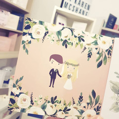 Bride and Groom Wedding Invitation In trifold style. Floral ivory