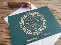 Green and Foil Save The Date