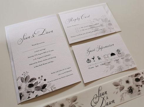 Printed Wedding Invitation and matching stationery by Karen McShane Wedding Stationery and Design