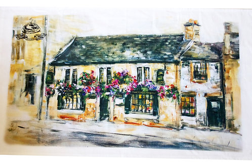 Bakewell Pudding Shop Painting Tea Towel