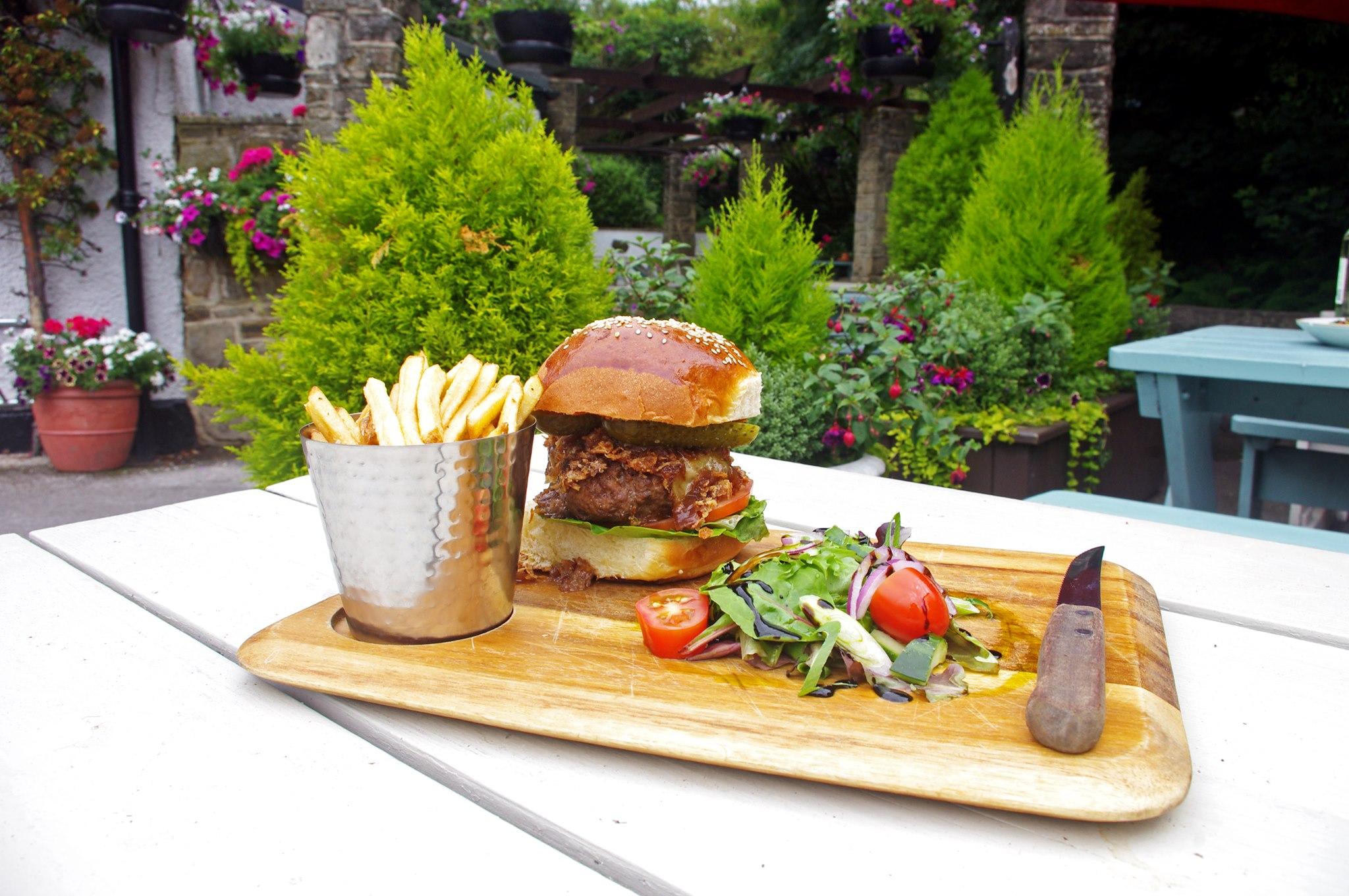 Burger in the beer garden