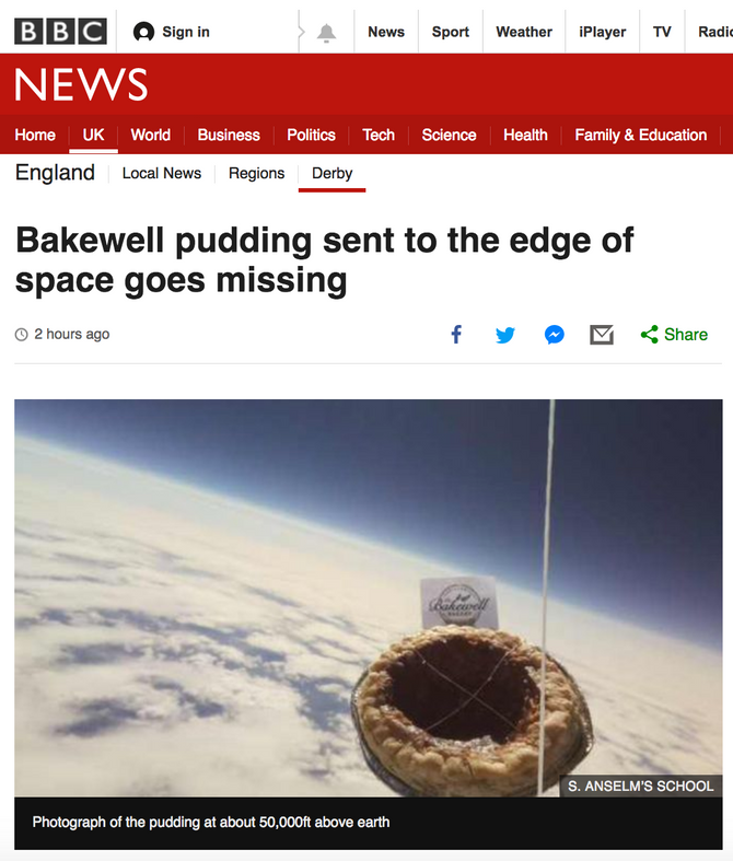 Bakewell Pudding 'lost in space' makes national news!