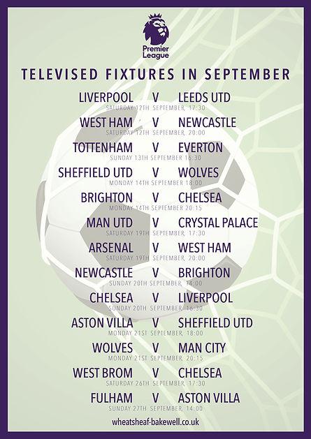 Wheatsheaf Premier League fixtures poste