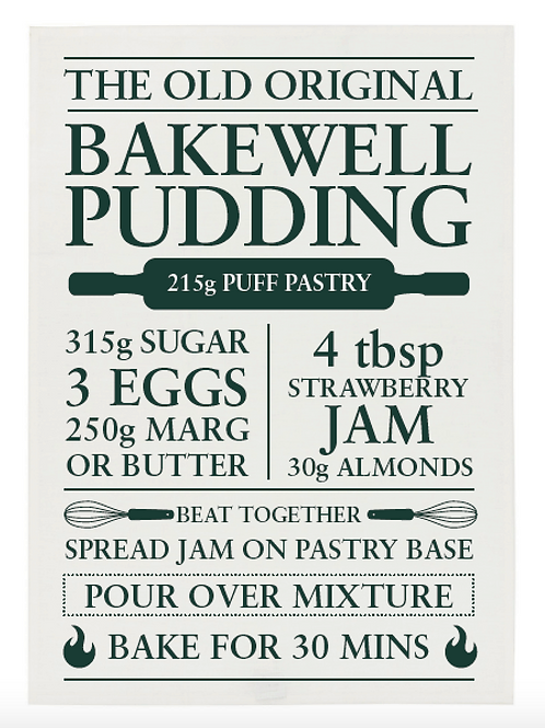 Bakewell Pudding Recipe Tea Towel