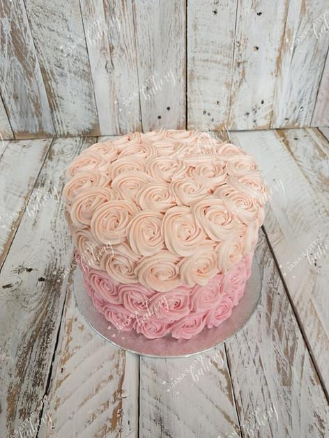 Vanilla Cake with Ombre Buttercream Finish