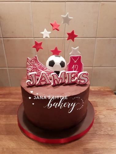 Chocolate Football Themed Birthday Cake