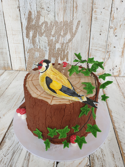Tree Stump with Handmade and Painted Goldfinch Bird