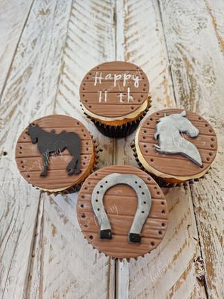 Horse Theme Birthday Cupcakes