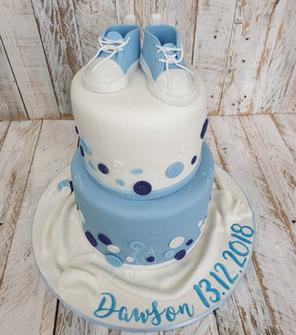 Christening Two Tier Chocolate Cake with Handmade Edible Booties