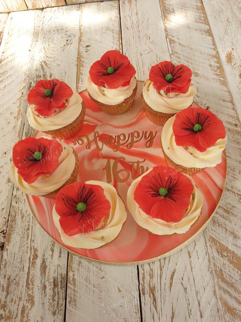 Poppy Themed Cupcakes