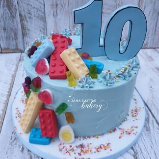 Double Digita Victoria Sponge Cake with Edible Handmade Decorations and Haribo