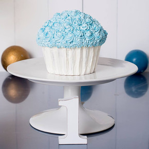 Vanilla Giant Cupcake Covered with White and Blue Buttercream