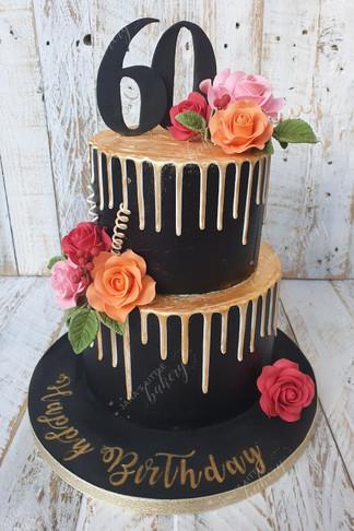 Black and Gold 60 Birthday Cake