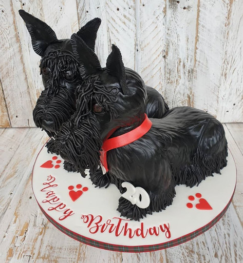Two Scottie Doggies Cake