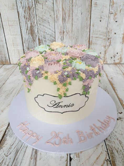 Hand Piped Buttercream Flower Cake