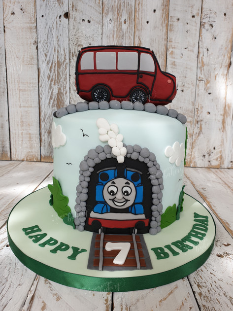 Thomas Train and Bus Cake
