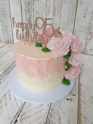 95th Birthday Cake with Handmade Flowers