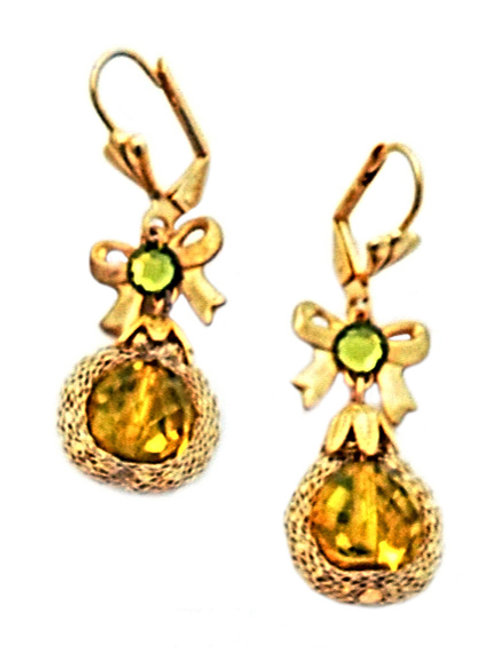 Yellow crystal & bow Earrings