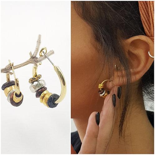 Gold\Silver Beaded Hoop Earrings, Dainty Gypsy, Ethnic, Bohemian Elegant Jewelry