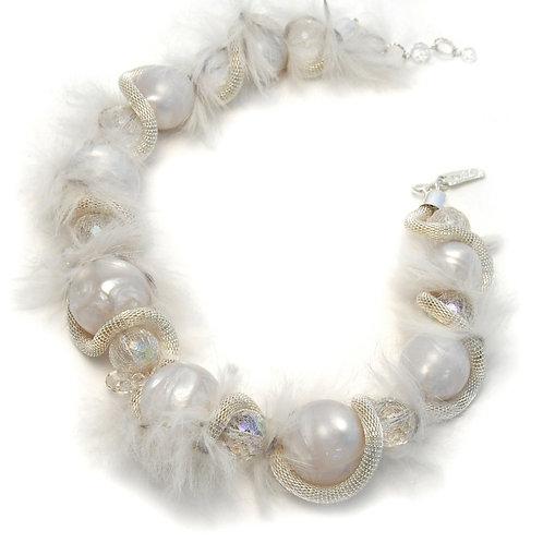 White fur bridal choker