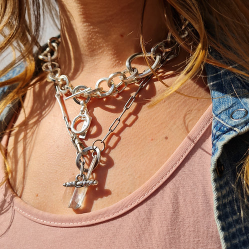 Alternating Chunky and Thin Silver Chain Set
