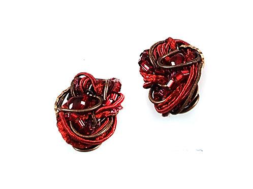 red cords earrings