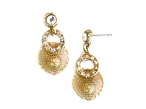 Glass pearls & gold Mesh Earrings
