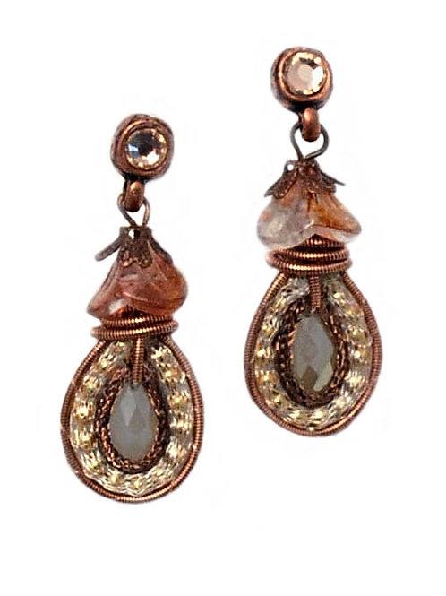 pink Tear drop & crystals Earrings