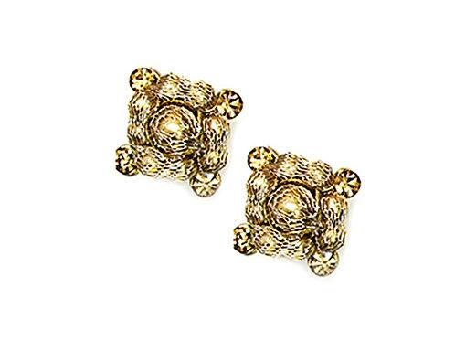 Pearls & Chain Ball Mesh Earrings